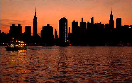 The city as night fell on Manhattan.  The only light comes from the boat as darkness, more stark during the blackout, sets on the city.</p /> </p><p>Photo is from the front page of the NY Daily News.