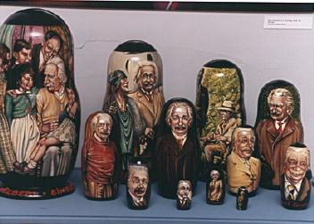 Scene of Einstein in stacking Russian dolls from The Historical Society at Princeton