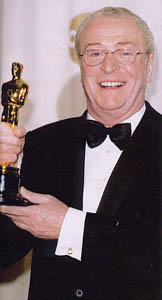 Michael Caine with his Oscar for Cider House Rules