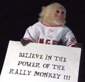 They say one should believe in the power of the rally monkey.  I say ask Tim Salmon, Troy Glaus, and that kid K-Rod if they believe.