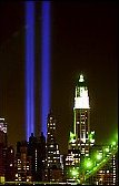 As of 3/11/02, six-months to the day after the attack on the WTC, New York began a month-long nightlight tribute to the Towers, the heroes, the memory of those lost in the madness, and a stark blue light in the place of where the towers had stood.  The blue lights beam out to the night sky, visible from all about the metropolitan area.</p /> </p>  </div>   <div class=